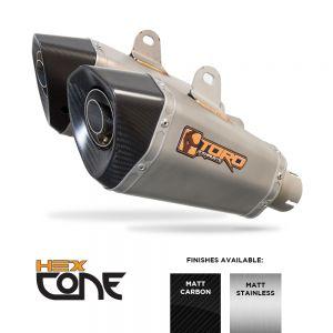 CBF1000 05-11 - Toro Exhaust Link Pipe, w/ Carbon HexCone Silencer