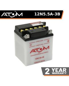 12N5.5A-3B - Atom Wet-Cell Motorcycle Battery 12V 5.5Ah