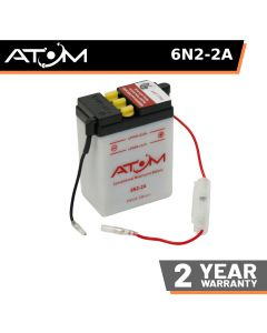 6N2-2A - Atom Wet-Cell Motorcycle Battery 6V 2Ah