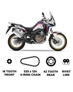 D.I.D Heavy Duty Chain and Sprocket Kit for Honda CRF 1000 L Africa Twin 2016-2018