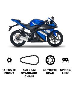 D.I.D Chain and JT Carbon Steel Sprocket Kit for Yamaha WR 125 X 2009-2017