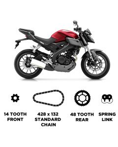 D.I.D Chain and JT Carbon Steel Sprocket Kit for Yamaha MT-125 2014-2018
