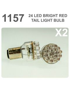 Replacement 380/1157 24 Red LED Tail, Brake, Interior Light Bulb x2