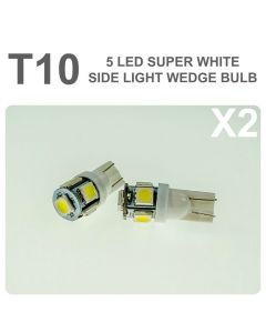 Replacement 501/T10 5 White LED Error Free Canbus Sidelight Bulb x2