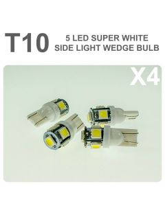 Replacement 501/T10 5 White LED Error Free Canbus Sidelight Bulb x4