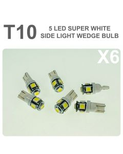 Replacement 501/T10 5 White LED Error Free Canbus Sidelight Bulb x6