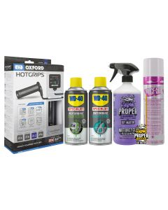 Motorcycle Warmth and Protection Kit - ACF-50,Proper Cleaner,WD40,Oxford Grips
