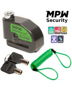 MPW Motorcycle Scooter 110DB Alarm Disc Lock Brake Anti-Theft Security + Reminder