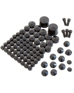 Black Nut & Bolt Cap Toppers Cover Kit for Harley Davidson Softail Twin Cam 07-13