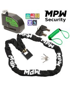 MPW Motorbike Motorcycle Scooter Chain Lock & Disc Lock and Reminder - 1.5M
