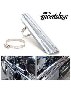 Universal Cafe Racer Motorcycle Exhaust Muffler Heat Shield Cover 225mm - Chrome