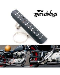 Universal Cafe Racer Motorcycle Exhaust Muffler Heat Shield Cover 230mm - Black