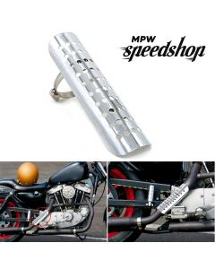 Universal Cafe Racer Motorcycle Exhaust Muffler Heat Shield Cover 230mm - Chrome