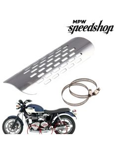 Universal Cafe Racer Motorcycle Exhaust Muffler Heat Shield Cover 180mm - Chrome