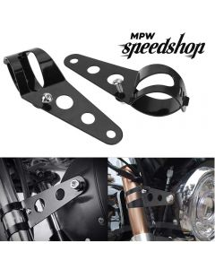 28-36mm Universal Custom Motorcycle Headlight Brackets - Black