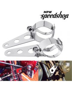 28-36mm Universal Custom Motorcycle Headlight Brackets - Chrome