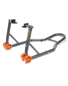 MPW Race Dept - Motorcycle Rear Paddock Stand with L-Adapters in Grey/Orange
