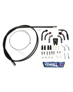 Venhill Universal Motorcycle 1.35m Twin Push/Pull Throttle Cable Kit - Black