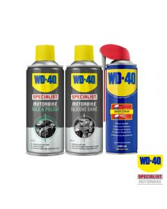 WD40 Saver Pack with Specialist Motorcycle Wax & Polish/Silicone Shine/WD-40