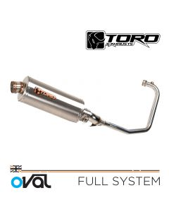 Toro 300mm Oval Brushed Stainless Full Exhaust System Yamaha YBR 125 05-16