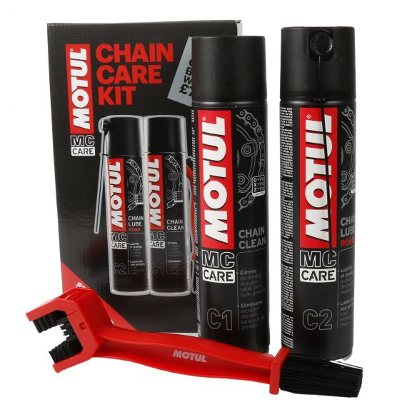 Motul Road Chain Care Kit - Cleaner, Lube and Brush